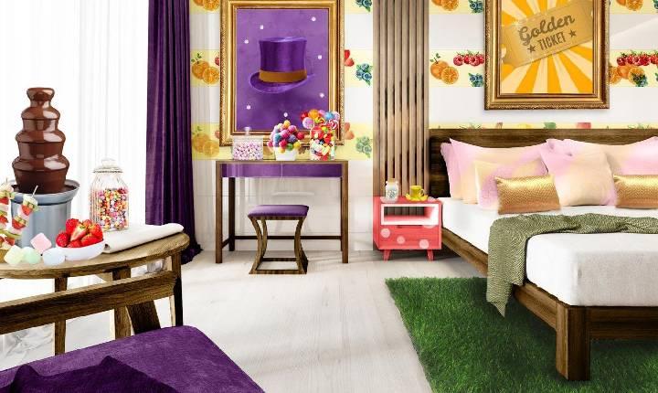 """Hotel ganha quarto temático Willy Wonka para celebrar 50 anos de """"A Fantástica Fábrica de Chocolate"""""""